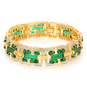 Bracelet or tourmaline santa rosa diamants or 18 K - Juwelo