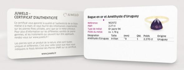Certificat d'authenticité livrés avec les bijoux de Juwelo, votre bijouterie en ligne.