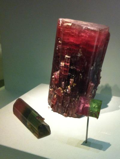 Cristal de Tourmaline Melon d'eau au musée d'histoire naturelle de Londres
