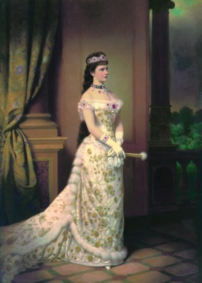 Impératrice Sissi avec ses bijoux, les étoiles de Sissi en Diadème.