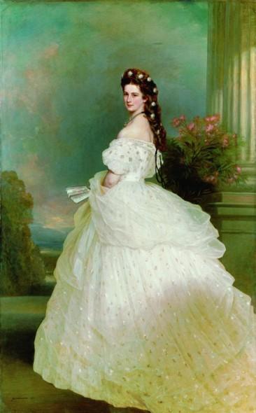 Portrait de Sissi portant ses étoiles de Perles et de Diamants.