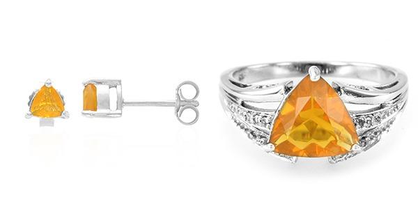 Parure de bijoux orange aux couleurs de l'automne