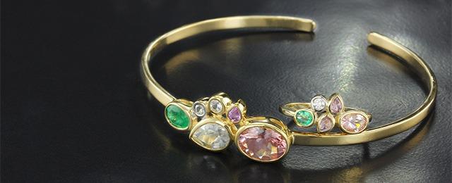 Bracelet en or et pierres précieuses de la collection de bijoux Jahdo